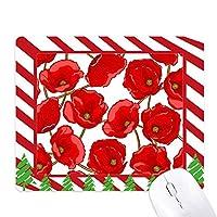 赤い花をおおうコーンポピー ゴムクリスマスキャンディマウスパッド