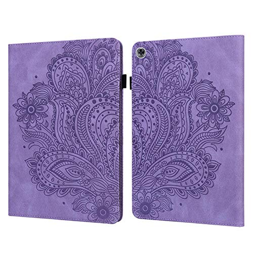 YYLKKB For Huawei Mediapad M5 Lite 10 Case Emboss Flower Wallet Caqa For Funda Huawei Mediapad M5 Lite Case 10.1 inch Tablet Cover-purple_M5 Lite 10 10.1inch
