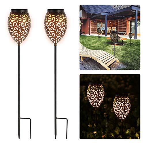 Görvitor Solarleuchten Garten, LED Warmlicht Solarlampen für Außen Garten, 69CM Gartenleuchten IP65 Wasserdicht, Solarleuchten für außen Deko Terrasse Rasen Wegeleuchten (Metall)