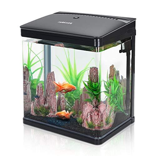 Nobleza-Nano-Fischtank-AquariummitLED-Leuchten&Filtersystem,tropischeAquarien, 14Liter,Schwarz