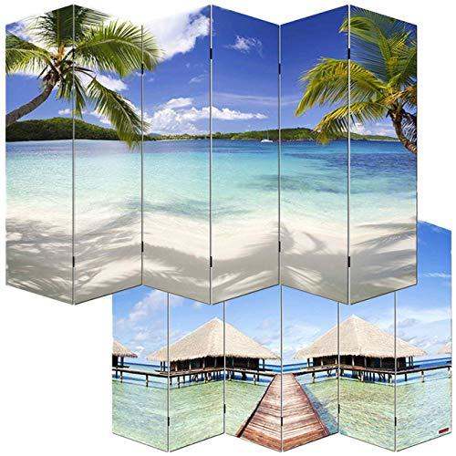Mendler Foto-Paravent Paravent Raumteiler Trennwand M68~180x240cm, Strand