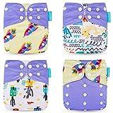 Yeelan Pañal de Tela para Bebé Pañal Todo en Uno Pañal Lavable Reutilizable Pañales Inserto para Niñito (Cohete)