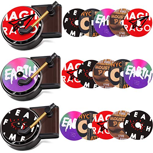 Car Retro Record Players Decor and Car Air Vent Fragrance Aromatherapy Tablets Car Phonograph Perfume Air Fresheners in Retro Style Record Player Design for Car Decor (18 Pieces)