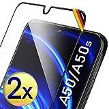 UTECTION 2X Full Screen Schutzglas für Samsung Galaxy A50 / A50s - Ideale Anbringung Dank Rahmen - Fingerabdrucksensor kompatibel - 3D 9H Schutzfolie gegen Bildschirmschäden, passexakte Glasfolie