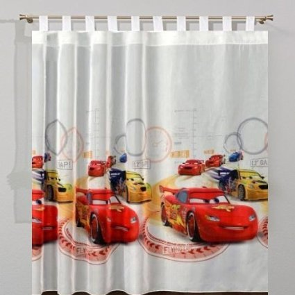 sophia the first Cars 3D Voile Net Tab Top Curtain 75 cm Width x 155 cm Drop