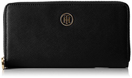 Tommy Hilfiger Damen Honey Large Za Wallet Geldbörse, Schwarz (Black), 2x10x19  cm
