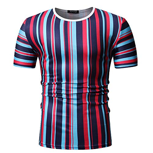 Camiseta de manga corta para hombre de manga corta con rayas verticales