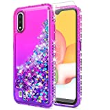 STARSHOP Samsung Galaxy A01 Phone Case, with [Tempered Glass Protector Included] Liquid Floating Glitter Quicksand Bling with Spot Diamond Cover - Pink/Purple