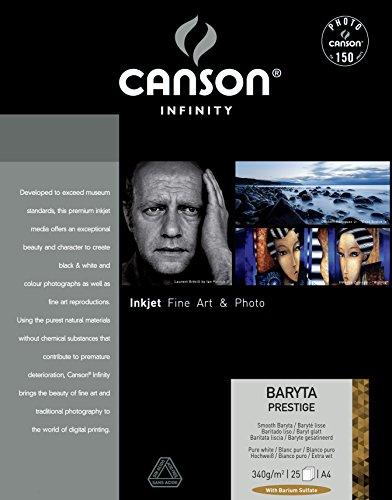 CANSON–400083831–Infinity Baryta Prestige–Fotopapier–Papier 25Blatt–340g 21x 29,7cm, weiß