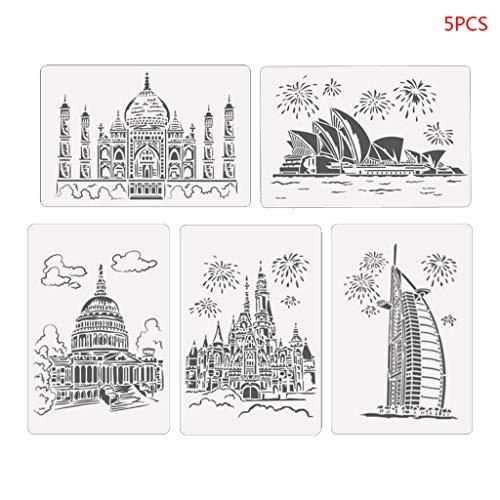 5 Stück/Set Turm Segelboot Zeichnung Schablone Malerei Prägung Scrapbooking B