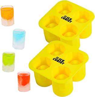 Ice Cubist Ice Shot Glass Molds - 2 Pack - Makes 4 Shot Glasses Per Mold - Silicone, BPA Free