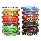 Yubbaex マスキングテープ 古代の部族の柄 金箔押し 5mm幅 x 20巻+3mm幅 x 6巻 薄いです プレゼント包装、DIY工芸品、ノートの装飾に使える (インドのトーテム 26巻)