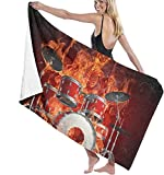 Toalla de Playa Toalla Estampada para Mujer Flame Skull Rock Music Drum Set Toalla de baño Linda y Exquisita Impresa Viajes Multiusos de Secado rápido