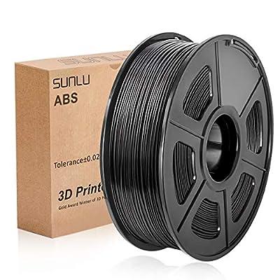 ABS Filament 1.75mm for 3D Printing, SUNLU ABS Filament Black 1.75 +/- 0.02 mm, 1KG/Spool for FDM 3D Printer