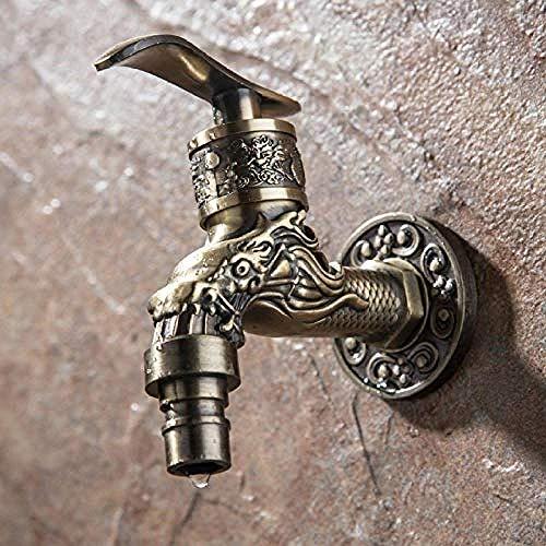 KANJJ-YU Grifo de grifo tallado de aleación de zinc de bronce antiguo Bibcock decorativo al aire libre jardín lavadora pequeño grifo cromado