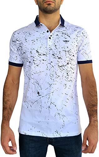 Etzo Short Sleeve Polo Shirt | Slim Fit Cotton Premium Stretch Fashion Polo T-Shirt Top for Men (White, XX-Large)