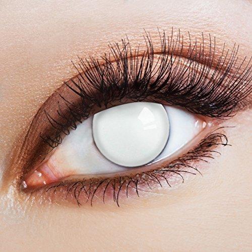aricona Kontaktlinsen Farblinsen - Weiße Jahreslinsen ohne Stärke - Halloween Kontaktlinsen weiß Horror