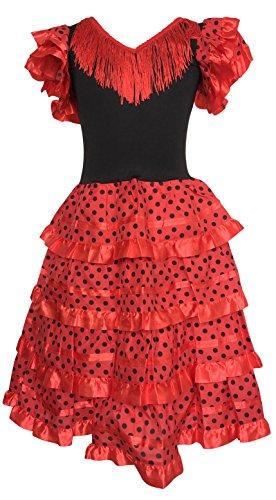 La Senorita Spagnolo Flamenco vestito/costume bambine Rosso/Nero