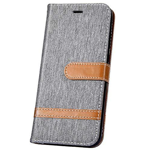 JAWSEU Compatible avec LG K50/Q60 Coque Portefeuille PU Étui Cuir à Rabat Magnétique Mode Denim Couleur de Épissure Ultra Mince Stand Leather PU Flip Wallet Case,Gris