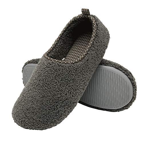 ChayChax Hausschuhe Damen Winter Wärme Pantoffeln Memory Foam Weiche Plüsch Bequeme Baumwolleschuhe,Dunkelgrau,EU 38-39