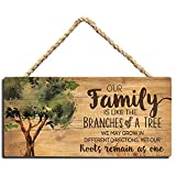 Vintage Family Wall Sign - Motivational Home Wall Art Decor Plaque, Wall Quotes Sayings Words, Nature Tree Wall Hanging Sign, Wooden Small Kitchen Sign 5 x 10