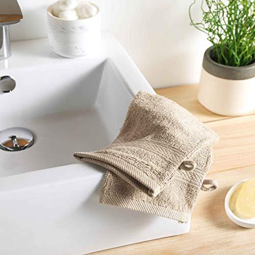2 gants de toilette 15 x 21 cm eponge unie colors taupe
