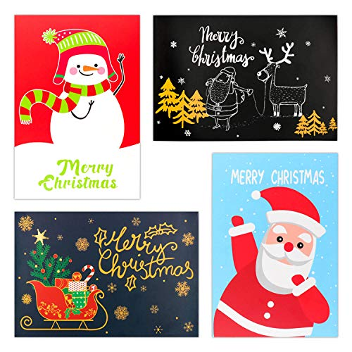 12 Christmas Holiday Greeting Cards with Envelopes - 4 Assorted Designs (Christmas)