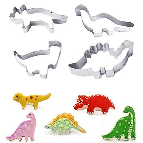 HelpCuisine Emporte-Pièce pour Biscuits, Lot de 4 Cutters a forme de Dinosaure en acier inoxydable, Ideal pour faire des biscuits ecc, 24 mois de Garantie!