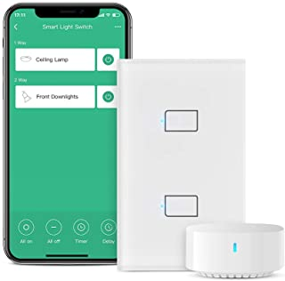 BroadLink Smart Light Switch, 2-Gang Single Live Wire Switch (No Neutral Required), Glass Panel, Compatible with Alexa, Go...