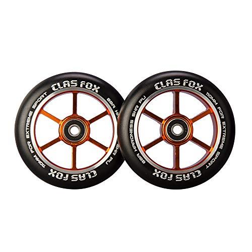 CLAS FOX Ruedas de scooter profesional para acrobacias 110mm con ABEC-9 rodamientos núcleo metálico(2pcs) (Naranja)