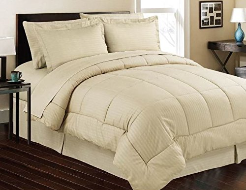Royal 600 Thread Counts 500 GSM Fiber Fill 1pc Comforter + 4pc Sheet Set Emperor/Wyoming King Size Beige Striped 100% Egyptian Cotton- by PARADISEHOUSE