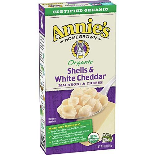 Annie's Organic Macaroni and Cheese Shells & White Cheddar Mac and Cheese, 6 oz Box (Pack of 12)