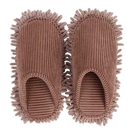 KCCCC Zapatillas de trapeador 2 Pares Multifunción Limpieza Zapatillas Desmontables Desmontables Zapatos de Limpieza de Piso Mop Zapatillas de Limpieza de Piso (Color : Brown, Size : Medium)