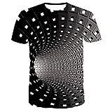 RuaRua Mujer De Camiseta Casual,Creativo 3D Impreso En Blanco Y Negro, Camisetas De Manga Corta con Cuello Redondo, Camisetas Casuales Novedosas, Diseños Geniales, Canal Blanco, M