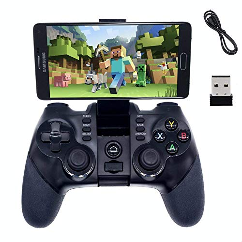 2.4G Wireless Bluetooth Android Game Controller,BRHE Mobile Gaming Controller Wired Gamepad for Android Phone, PS3, Tablet, PC Windows 7/8/10, Samsung Gear VR, SmartTV/TV Box – Black