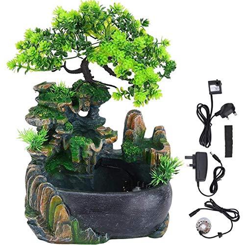 Fuente de escritorio con cascada y decoración de bonsai bonsai y atomizador, se utiliza para la tensión de meditación de yoga en el dormitorio de la oficina.