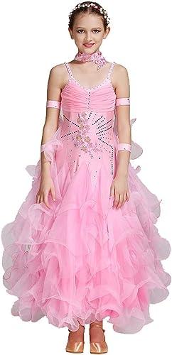 DRESSS Jupe de Concours de Danse Moderne pour Enfants, Robe de Jupe de Danse Moderne pour Enfants (Couleur   rose, Taille   XL)