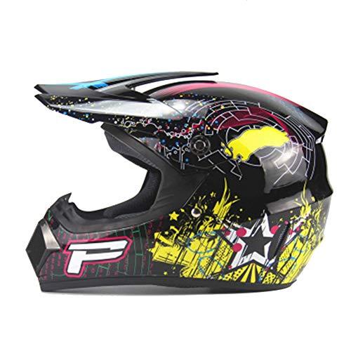 QIEP Ultraleichte Offroad-Motorradhelme, Erwachsene Männer und Frauen/Jugend-Straßen- und Mountainbike-Helme mit Visier-black2-M