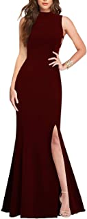 Women's Sexy High Neck Sleeveless Cutout Side Slit Formal Bridesmaid Maxi Party Evening Long Dress Mermaid Prom Gown