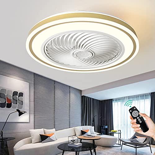 Ventilador De Techo Creativo Con Iluminación LED Regulable Control Remoto Lámpara De Techo Ventilador Moderno Luz De Techo Para Habitación De Niños Dormitorio Sala De Estar Comedor Oficina (Gold)