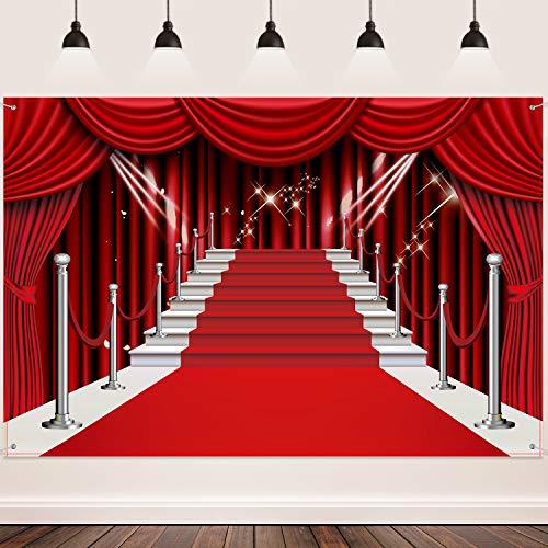 Rot Vorhang Hintergrund Banner, Große Rote Teppich Stoff Fotografie Hintergrund Angepasst Foto Hintergrund Studio Prop für Party Dekorationen, 6 x 4 Füße