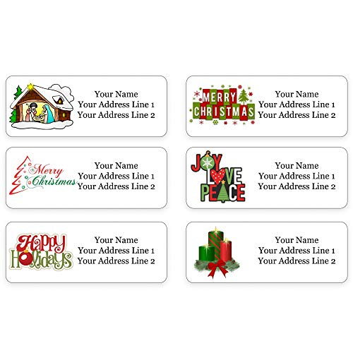 Personalized Return Address Labels for The Holiday Season - Christmas Themed and Design - Made in The U.S.A. (120 Labels)