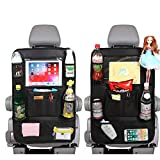 unknownn 2 Pack Car Backseat Organizer, for Kids Car Organizer Kick Mats with 10' Touch Screen Tablet Holder 11 Storage Pockets Car Back Seat Protectors Backseat Child Kick Guard Seat Saver