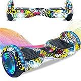HappyBoard Hoverboard 6.5'' Patinete Eléctrico Bluetooth Monopatín Scooter autobalanceado, Ruedas de Skate con luz LED, Motor Bluetooth de 700W para niños y Adultos (Fuego)