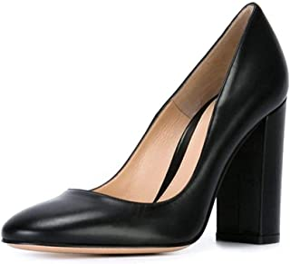 Women's Block Heel Pumps 12cm High Heels Pointed Toe Slip On Dress Block Pumps Shoes Size 5-14 US
