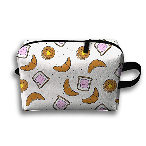 Croissant Bread Toast Travel Cosmetic Bag Make-Up Bags Stationery Holder