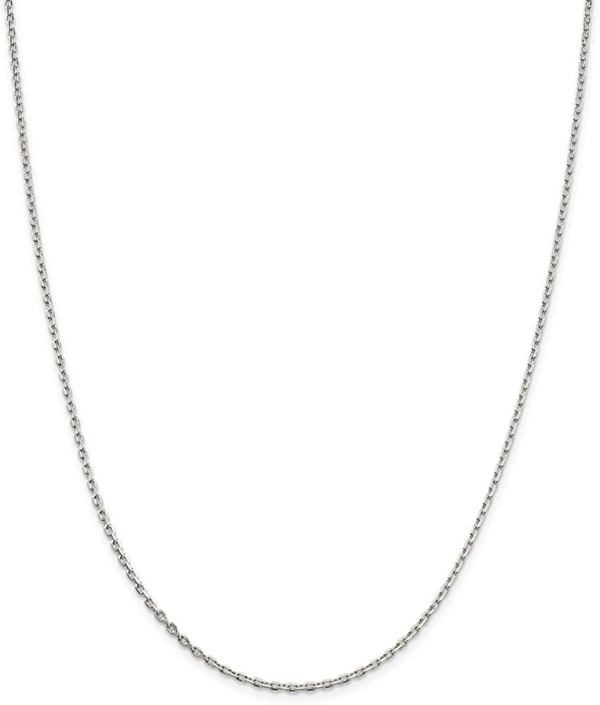 Solid 925 Sterling Silver 2mm Necklace Beveled Colorado Springs Superlatite Mall Chain Cable Oval
