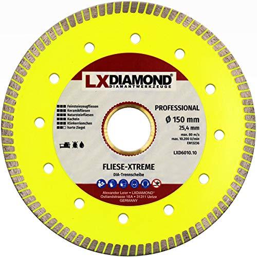 LXDIAMOND Disco de corte de diamante de 150 mm x 25,4 mm, para azulejos, gres porcelánico, baldosas de cerámica, piedras naturales, correa extrafina para cortes exactos de 150 mm
