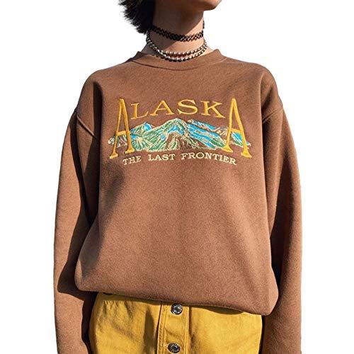 soweilan Frauen Alaska Print Landscape Grafik Sweatshirt Übergroße Pullover Pullover Harajuku Vintage Top