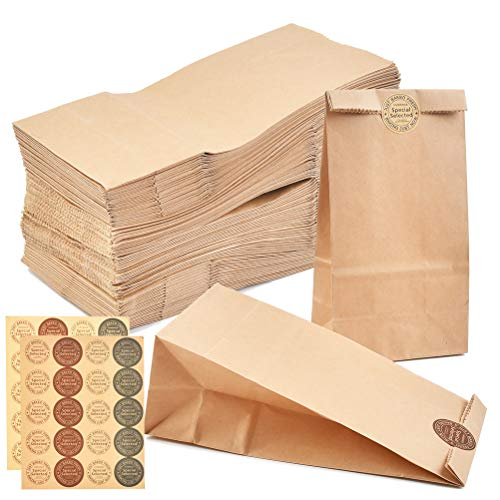 100 Geschenktüten,Papiertüten Braun Braune Papiertüten Tütchen Papier-Beutel Kraftpapier Tüten mit 100 Stück Danke Sticker, Ideal für Geschenk-verpackung Brote Keks verpacken Ostertüten